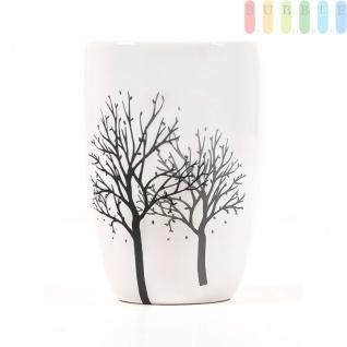 Vase aus Keramik, glasiert, weiß mit Dekor, Höheca.18cm 3. Variante