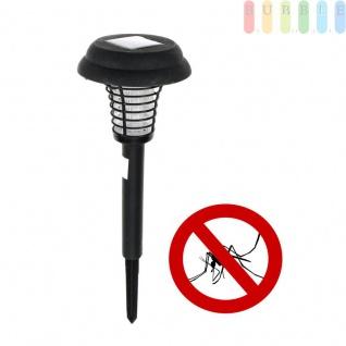 2 in 1 Solarlampe mit Insektenvernichter für Garten + Camping von Grundig, Akku-Betrieb, weiß/blau leuchtende LEDs, 2 Funktionen, An/Aus-Schalter, Höhe ca. 44 cm