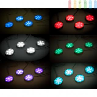 4 LED-Spotlichter Ø ca. 5, 8 cm von Grundig, 20 Farben im Wechsel, 8 Dimmerstufen, 19 verschiedene Licht-Modi, mit 12V DC-Netzteil, extra langes Kabel, und Befestigungs-Pads