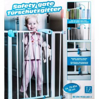 Kinderschutzgitter, Montage ohne Bohren, Metall beschichtet, öffnet beidseitig, entspricht Norm BS EN 1930 2011, Fabe Weiß-Blau
