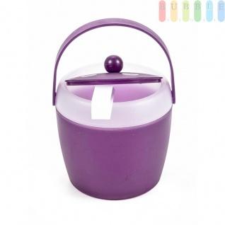 Eiskübel von Fresh & Cold mit Zange, Henkel und Deckel, doppelwandig, Volumen1, 5l, Größeca.20x18cm, Farbe Violett