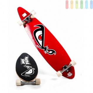 Longboard von No Fear mit Holz-Deck, Kunststoffrollen, Kugellager ABEC7, Alu-Truck, Grip-Tape, Größe44''/112cm, Design Böser Blick in rot