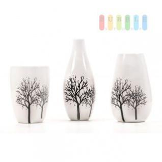 Vase aus Keramik, glasiert, 3 Variationen, weiß mit Dekor, Höhe ca. 18- 27, 5 cm