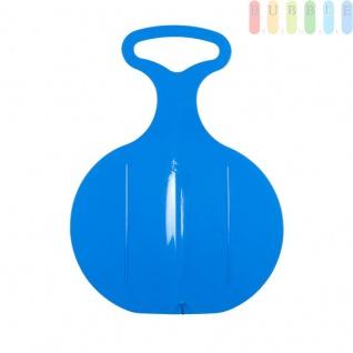 Teller-Schlitten von EDDY TOYS, Schneerutscher mit Griff, rutschfester Sitzfläche, Gleitsohle, Farbe Blau