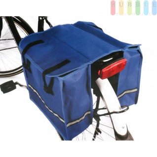 Doppel-Satteltasche für Fahrrad-Gepäckträger, wasserfest, Taschen mit reflektierendem Streifen, verschließbar, Rückwand verstärkt, blau