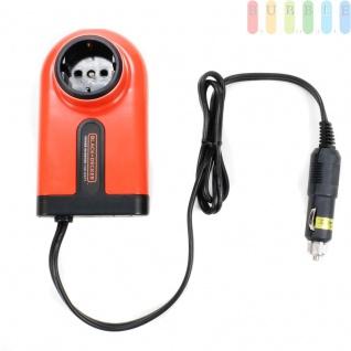 Wechselrichter 100 Watt von Black & Decker, Umwandler von 12 Voltauf230 Volt für PKW und LKW, Zigarettenanzünder-Stecker, Schuko-Steckdose, USB-Buchse, Spannungswandler