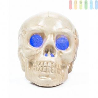 Halloween Skull /Schädel von Arti Casa, LED-beleuchtet, freistehend oder hängend, Ein-Aus-Schalter, Batterien inklusive, Höheca.9cm, Farbe Blau