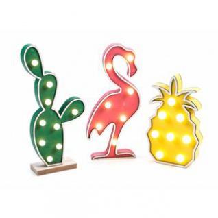 Holzdeko von Arti Casa, 7-9 LEDs, MDF, batteriebetrieben, frei stehend, Handmade-Design, Höhe ca. 22/29/29 cm, Motive Kaktus, Flamingo oder Ananas