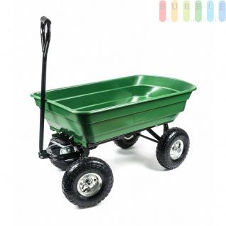 Gartenwagen, 4Luftreifen, Kippmechanismus, Griffgepolstert, Wanne geschlossen, wendig, geländegängig, vielseitig, Zuladung max. 200kg