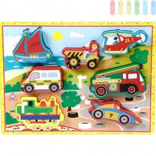 """Holzpuzzles """" Fahrzeuge"""" für Kleinkinder von Marionette mit 7 Puzzleteilen auf Grundplatte, bunt, ca. 30 x 22 cm"""