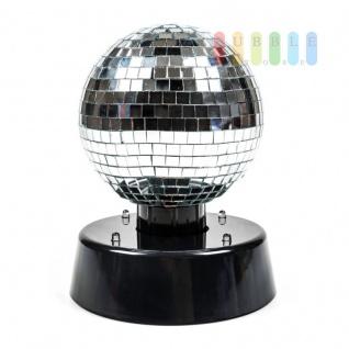 Disco-Spiegel-Kugel von PartyFunlights, rotierend, Ein-Aus-Schalter, Netzteil inklusive, 4 bunte LEDs, Ø 10 cm - Vorschau 3