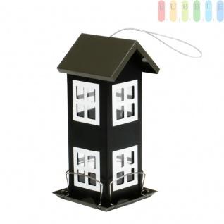 Vogelfutterhaus von Lifetime Garden aus Metall, Futtersilo, 4 Anflugbügel, Sichtfenster, Metall-Aufhänger, Höheca.26cm, Farbe Schwarz