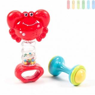 Baby-Spiel-Set von Let´s Play, 2-teilig, Rasseln, Beißringe und Greifspielzeug Frühförderung, Beschäftigung, erstes Spielen, Krabbe