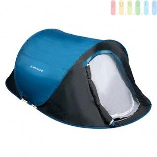 Wurfzelt / Popup-Zelt von Dunlop für 2Personen, doppelwandig, selbstaufbauend, Moskitoschutz, Wassersäule 400 mm, blau