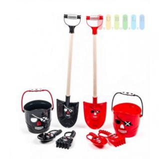 Sandspielzeug-Set Pirat von EDDY TOYS mit Schaufel, Eimer, Handschaufel und Harke, lieferbar in den Farben Schwarz oder Rot