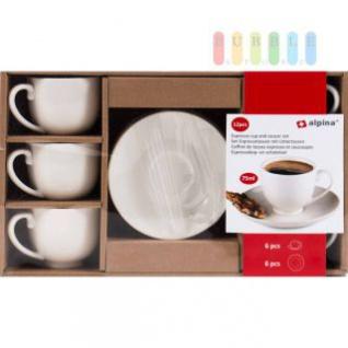 Espresso-Set von Alpina 12-teilig, 6 Tassen, 6 Unterteller, Volumen 75 ml, 6 Personen, weiß