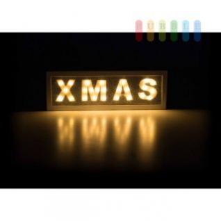 Schriftzug XMAS von Arti Casa beleuchtet, 25 LEDs, robustes MDF, batteriebetrieben, freistehend, weiß, Breite ca. 40 cm