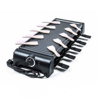 Raclette-Grill von Cuisinier Deluxe für 10 Personen, Thermostat, Kontrollleuchte, vielseitig, schwarz, Größe 64 x 24 x 10, 5 cm, 1500W