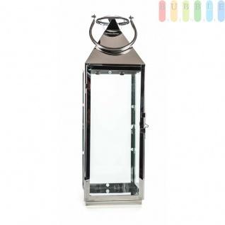 Metalllaterne von Arti Casa, Edelstahl hochglänzend, Glaseinsätze, Metallboden, Tür mit Verschluss, Design maritim-elegant, Größeca. 54 cm