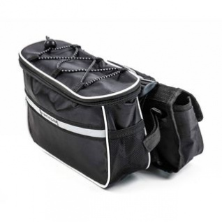 Fahrradrahmen Lenkertasche von Dunlop zum Umhängen mit Flaschenhalter, 3 Taschen, Klett-Montage, flexibel, sicher, mobil Größe ca. 23 x 13 x 16 cm