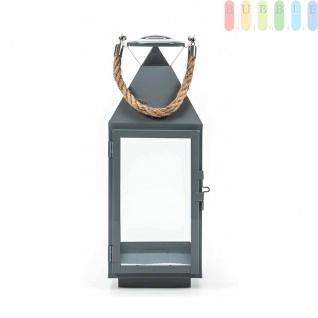 Metalllaterne von Arti Casa, Glaseinsätze, Metallboden, Tür mit Verschluss, Seil-Griff, Design maritim, grau, Größeca. 41 cm