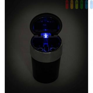 Aschenbecher für Getränkehalter, beleuchtet mit Glutlöscher, Batterie austauschbar, Farbe Schwarz - Vorschau 2