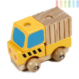 Holz-Bauwagen mit Betonmischer Steck-Puzzle für Kleinkinder aus 5 Teilen, gelb mit blau/natur, ca. 9 cm