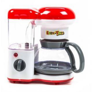Kaffeemaschine von EDDY TOYs, Wasser läuft durch, Betriebsleuchte aktiv, Batteriebetrieb, Größe ca. 18 x 20 x 12 cm