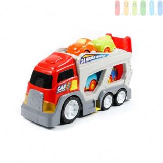 Autotransporter von Let's Play, 2 Ladeflächen, 4 Spielzeugautos, Licht und Ton-Funktion, batteriebetrieben, ca. 40 x 11 cm, Kleinkinderspielzeug