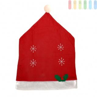 1x Weihnachtssitzbezug, weihnachtliche Stuhlhusse aus Filz in Form einer Weihnachtsmütze mit Bommel, Sternen, Stechpalmenblätter mit roten Beeren