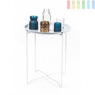 Tablett-Tisch von ArtiCasa mit Dekorations-Set, Tablett, Tischgestellklappar, Windlichter, Kerzenhalter und Vase, 7-teilig, groß (HxØ) ca. 48 x 42 cm