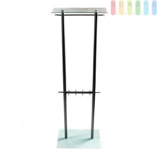 Garderobe aus Metall und Hartglas, 2 Kleiderstangen, 8 Haken, Hutablage, ca. 180 cm, grau, metallic/silbern