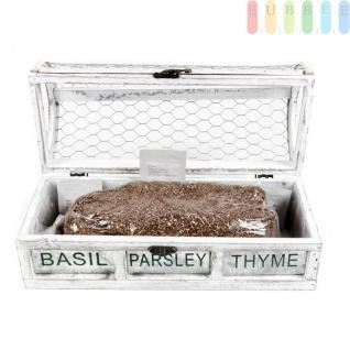Pflanzset für Basilikum, Petersilie und Thymian von Organic Healthy Food aus Holz, mit Samen und Nährstoffsubstrat, Vintage-Look, freistehend