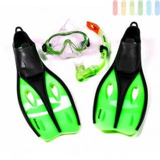 Kinder-Profi-Schnorchel-Set von Dunlop mit Maske, Schnorchel und Flossen, Farbe Grün S 35-37