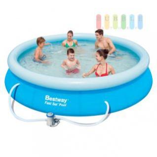Pool-Set mit Außenschwimmbecken und Pumpe, Schnell-Bau-System, frei stehend, Ø 366 x 76 cm