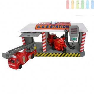 Spielzeug SOS-Station mit Feuerwehrwagen, ausziehbare Drehleiter und Motorrad, Licht und 3 Ton-Funktionen, Sprechfunk-Mikro, Batteriebetrieb