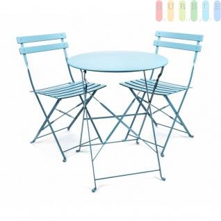 Bistro Balkon Garten Set 3 teilig, Klapptisch Ø 60 cm 2x Klappstühle, Retro-Design, für innen und außen, Farbe blau