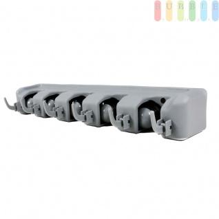Gerätehalter im Push und Click-System für 5 Geräte + 6 Haken von Alpina, für Gartenwerkzeuge, Besen etc., inkl. Montagematerial, (L) ca. 40, 5 cm