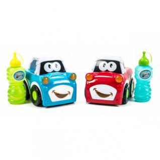 Kinder-Seifenblasen-Auto mit Seifenblasenflüssigkeit, Ein-Aus-Schalter, Sound, Licht, Griff-Schalter, Batteriebetrieb, lieferbar in den Farben Rot oder Blau