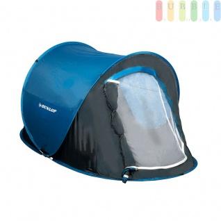 Wurfzelt / Popup-Zelt von Dunlop für 1Personen, einwandig, selbstaufbauend, Moskitoschutz, Wassersäule 400 mm, blau