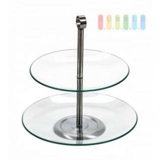 Etagere von Trento mit 2 Ebenen aus Glas, Metall-Gestänge, Durchmesser ca. 21/25 cm, Höhe ca. 28 cm