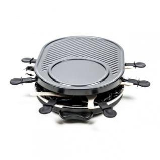 Raclette-Grill von Cuisinier Deluxe für 8 Personen, Thermostat, Kontrollleuchte, vielseitig, schwarz, Größe 47 x 32 x 12 cm, 1200W