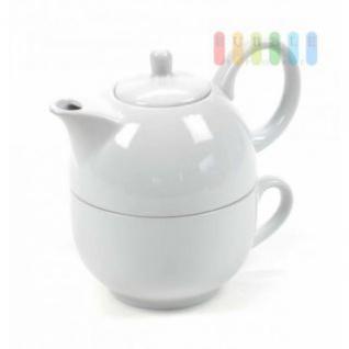 Tee-/Kaffee-Set von Trento Collection, Tasse mit Kanne, Porzellan, 425 ml, 2-teilig, weiß
