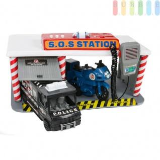 Spielzeug SOS-Station mit Polizeitransporter und Motorrad, Licht und 3 Ton-Funktionen, Sprechfunk-Mikro, Batteriebetrieb