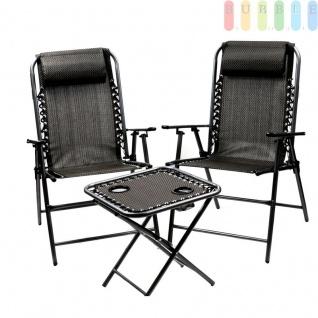 Sitzgruppe Gartenmöbel Hochlehner Set, Tisch und 2 Stühle, klappbar, elastisches Kunststoffgewebe, Stahlrahmen