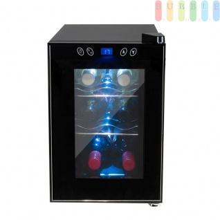 Weinkühler für 6 Weinflaschen, Weinkühlschrank mit Innenbeleuchtung An/Aus-Schalter, transparente Glastür, Digitale LCD-Anzeige, Touchscreen, schwarz