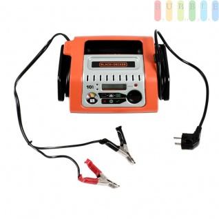 Re-Charge It Batterieladegerät für KFZ-Motoren von Black + Decker, Netzanschluß, Plus- + Minusklemmen, Vier-Phasen-Ladetechnologie, Ein-Aus-Schalter, LED-Anzeige, 12V