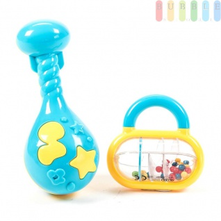 Baby-Spiel-Set von Let´s Play, 2-teilig, Rasseln, Beißringe und Greifspielzeug Frühförderung, Beschäftigung, erstes Spielen, Klassisch