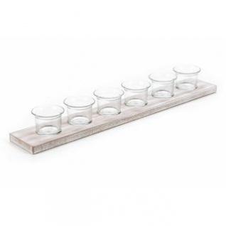 Teelichthalter von Arti Casa aus robustem MDF, Glasbecher für 6 Teelichte, Länge ca. 50 cm, weiß gelaugt