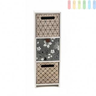 Mini-Kommode Arti Casa aus MDF, 3Schubladen, Shabby-Look, Design Flowers, freistehend, weiß, Größeca.11, 5 x 34 x 10 cm